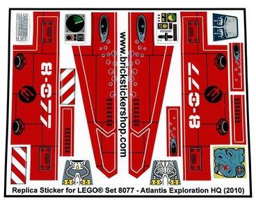 Precut Custom Replacement Stickers for Lego Set 8077 - Atlantis Exploration HQ (2010)