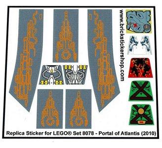 Precut Custom Replacement Stickers for Lego Set 8078 - Portal of Atlantis (2010)