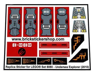Precut Custom Replacement Stickers for Lego Set 8080 - Undersea Explorer (2010)