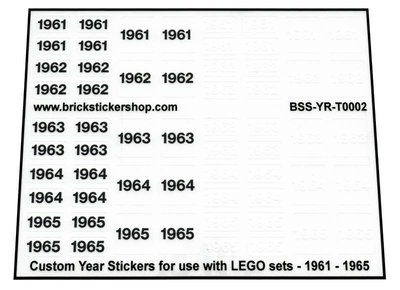 Custom Year Stickers for use with LEGO sets - 1961 - 1965