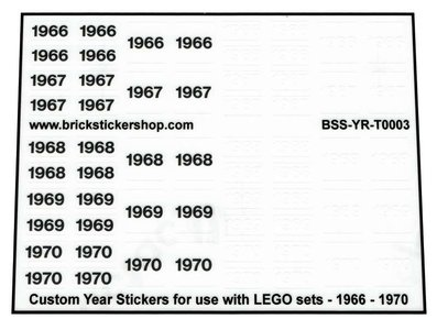 Custom Year Stickers for use with LEGO sets - 1966 - 1970