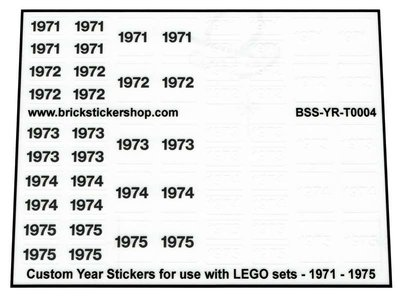 Custom Year Stickers for use with LEGO sets - 1971 - 1975
