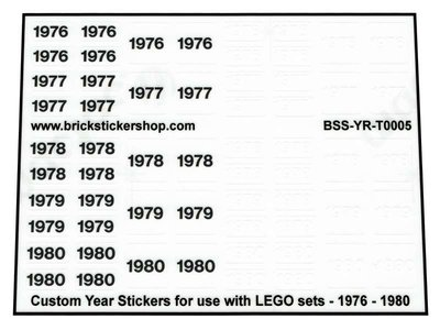 Custom Year Stickers for use with LEGO sets - 1976 - 1980
