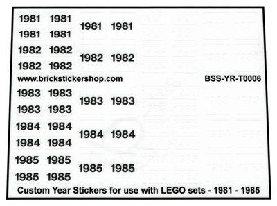 Custom Year Stickers for use with LEGO sets - 1981 - 1985