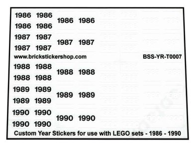 Custom Year Stickers for use with LEGO sets - 1991 - 1995