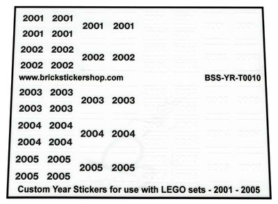 Custom Year Stickers for use with LEGO sets - 2001 - 2005