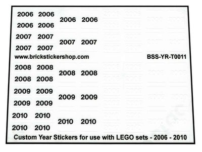 Custom Year Stickers for use with LEGO sets - 2006 - 2010