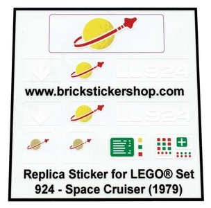 Lego Custom Replacement Stickers for Set 924 - Space Cruiser (1979)