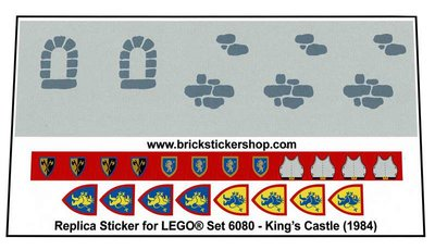 1978 Castle Precut Custom Replacement Stickers for Lego Set 375 Early Versi
