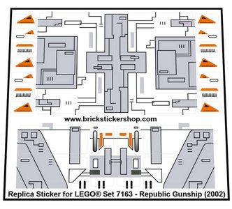 Precut Custom Replacement Stickers for Lego Set 7163 - Republic Gunship (2002)