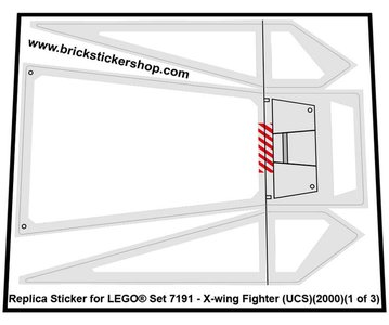 Precut Custom Replacement Stickers for Lego Set 7191 - X-wing Fighter (UCS)(2000)