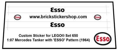 Precut Custom Replacement Stickers for Lego Set 650 - 1:87 Mercedes Tanker (Esso) (1964)