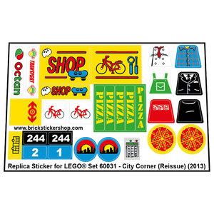 Precut Custom Replacement Stickers voor Lego Set 60031 - City Corner (Reissue) (2013)