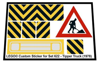 Precut Replica Sticker for Lego Set 622 - Tipper truck (1978)