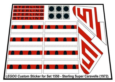 Precut Replica Sticker for Lego Set 1550 - Sterling Super Caravelle (1972)