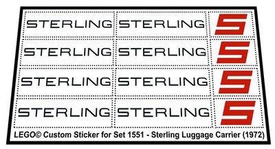Precut Replica Sticker for Lego Set 1551 - Sterling Luggage Carrier (1972)
