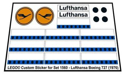 Precut Replica Sticker for Lego Set 1560 - Lufthansa Boeing 727 (1976)