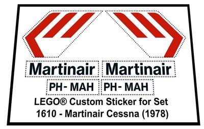 Precut Replica Sticker for Lego Set 1610 - Martinair Cessna (1978)