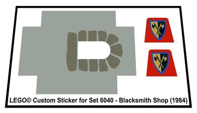 Precut Replica Sticker for Lego Set 6040 - Blacksmith Shop (1984)