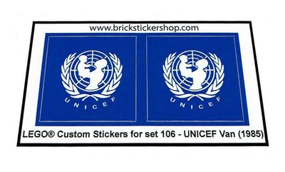 Precut Replica Sticker for Lego Set 106 - UNICEF Van (1985)