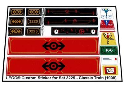 Precut Replica Sticker for Lego Set 3225 - Classic Train (1998)