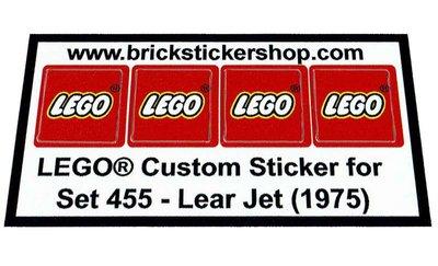 Precut Replica Sticker for Lego Set 455 - Lear Jet (1975)