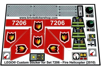 Precut Custom Replacement Stickers for Lego Set 7206 - Fire Helicopter (2010)