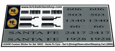 Lego 10022 - Santa Fe Cars - Set II (dining, observation, or sleeping car) (2002)