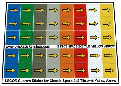 Lego Custom Stickers voor Classic Space Tiles 2x2 met Gele Pijl