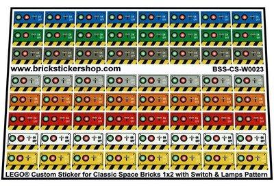 Lego Custom Stickers voor Classic Space Brick 1x2 met Switch & Lamps Pattern